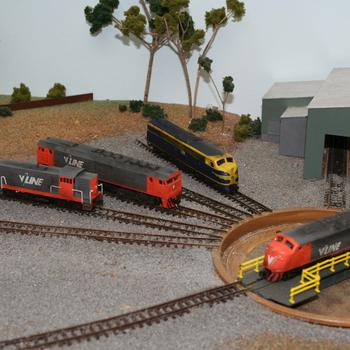Peter Boorman B class on the turntable, Aust-N-Rail T and G around the outside, beside a Peter Boorman S class