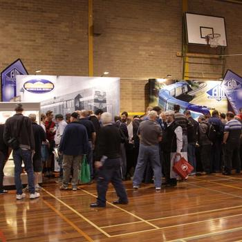 Queues 3 or 4 deep outside the Auscision / Bendigo Rail Models stand just after opening on Saturday.