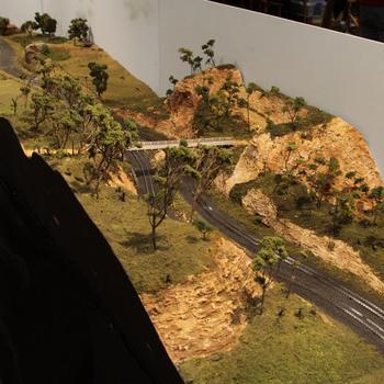Rosella: railway cutting and bridge scene on the layout