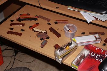 Aftermath of an exhibition: repairing all of the bits that fall off wagons!