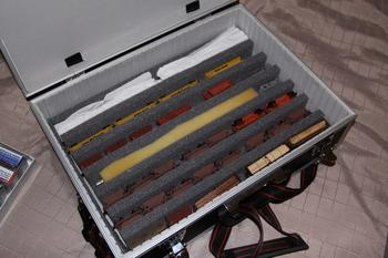 Foam inserts on the bottom layer of the briefcase