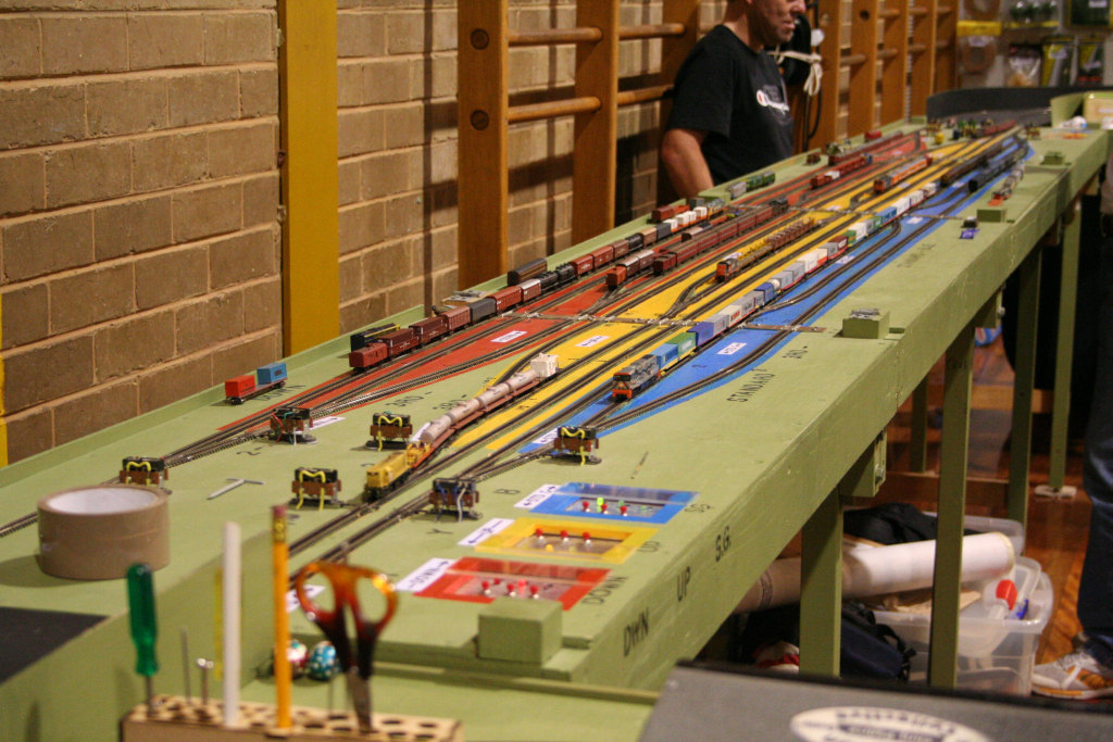 Rear staging yard of 'Wallan' - blue tracks for the standard gauge, yellow is the up BG and the red is the down BG